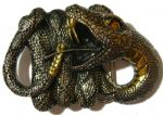 Gold & Silver Plated Rattle Snake Belt Buckle with display stand. Code CA6